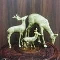 Antique Brass Deer Family Figurines