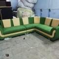 Green and beige corner sofa