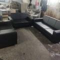 3+2+2 sofa black rexin