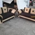 Brown and cream talwar handle sofa set