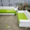 Green and white sofa set