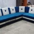 L shape corner sofa blue and white